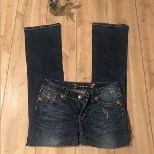 Seven 7 Jeans SZ 31 Boot Cut Stitched Dark KR56